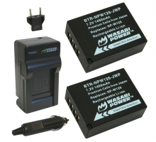 Bộ 2 viên pin và 1 sạc Wasabi for Fujifilm NP-W126