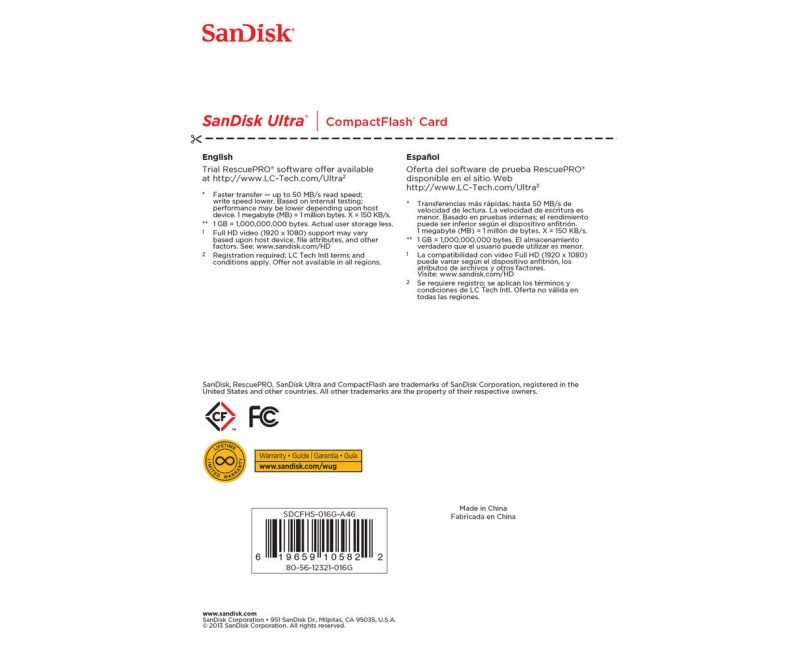 Sandisk CF 16GB Ultra 50MB/s 5