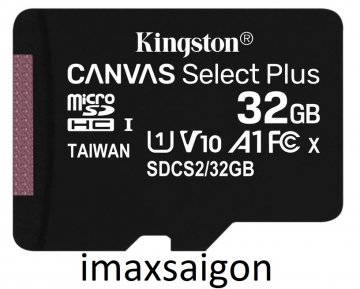 THẺ NHỚ KINGSTON MICRO SDHC 32GB 100MB/S CANVAS SELECT PLUS C10 U1 A1