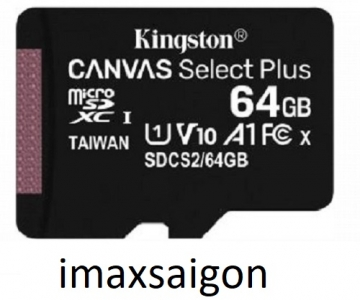 THẺ NHỚ KINGSTON MICRO SDXC 64GB 100MB/S CANVAS SELECT PLUS C10 U1 A1