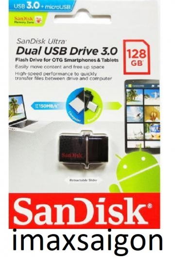 Sandisk OTG 3.0 128GB Ultra Dual USB 3.0 For Smart Phone & Tablet Android