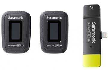 MIC THU ÂM KHÔNG DÂY SARAMONIC BLINK500 PRO B4(Lightning)- 2 Cục phát + 1 cục thu
